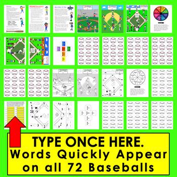 Baseball Sight Words Baseball Literacy Center Activities - Set 1