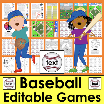 Baseball Sight Word Literacy Center EDITABLE for Any List Words, Math, Letters