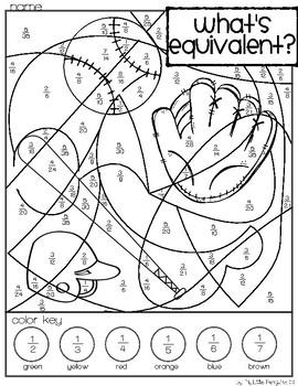 Baseball Simplify Fractions Coloring page (no prep)