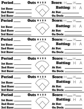 Baseball/Softball/Kickball Game Continuation Sheet