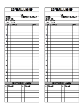 Baseball Softball Line Up Roster Card PDF for Coaches, Dugout, Ump