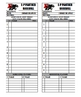 Baseball Softball Line Up Roster Card for Coaches, Dugout, Ump