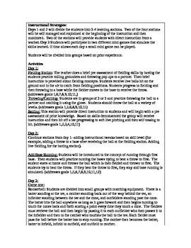 Baseball/Softball Striking Skills Lesson Plans 4th/5th grade