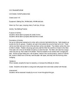 Baseball/Softball Unit - 6 Lesson Plans - Elementary PE