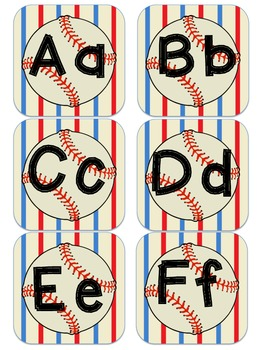 Baseball Sport Themed Alphabet Word Wall Posters