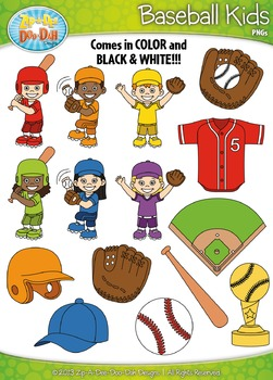 Baseball Sports Kid Characters Clipart Set Set — Includes 30 Graphics!