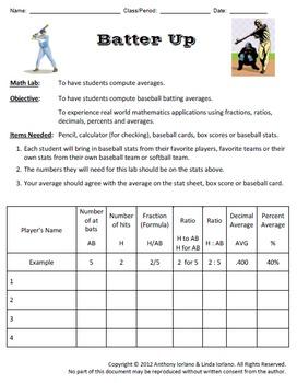 Baseball Statistics (Pitcher's Earned Run Average & Batter's Batting Average)