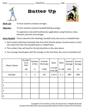 Baseball Statistics (Pitcher's Earned Run Average & Batter's Batting Average)