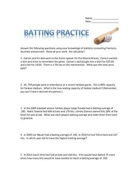 Baseball Statistics using Fractions, Decimals, and Percents