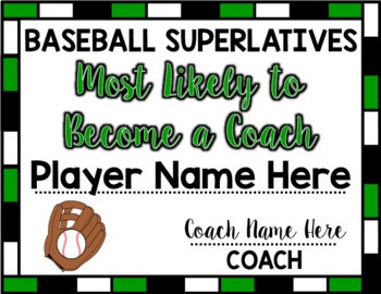 Baseball Superlative Awards - Green