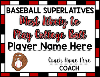 Baseball Superlative Awards - Maroon