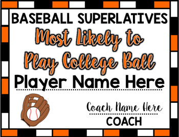 Baseball Superlative Awards - Orange