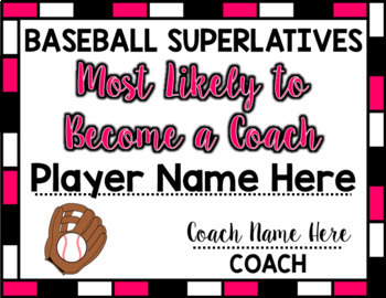 Baseball Superlative Awards - Pink
