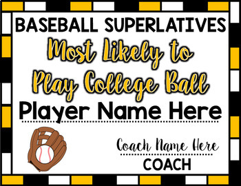 Baseball Superlative Awards - Yellow
