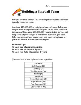Baseball Team Project