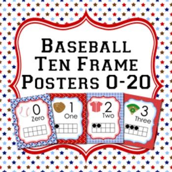 Baseball Ten Frame Posters 0 - 20