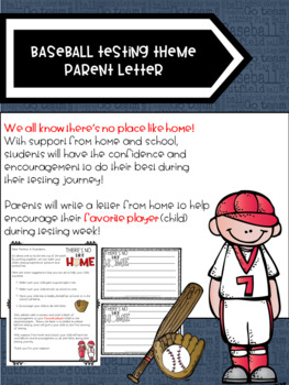 Baseball Testing Theme Parent Letter