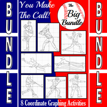 Baseball - The Big Bundle of 8 Baseball Coordinate Graphing Activities