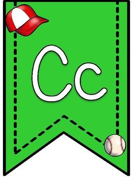 Baseball Theme Alphabet Banner Pennants