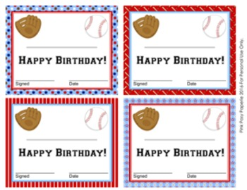 Baseball Theme Birthday Certificates