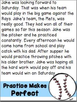 Baseball Theme Close Reading Passages