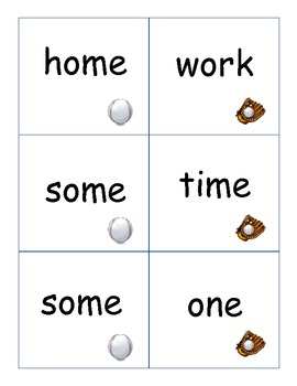 Baseball Theme Compound Word Match