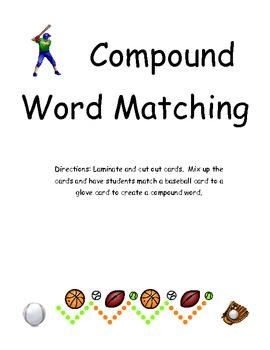 Baseball Theme Compound Word Match