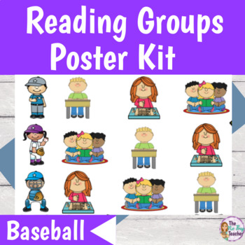 Guided Reading Rotation Poster Kit and Center Labels Baseball Theme