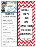 Baseball Theme LAFS 3rd Grade STEM Question Bookmarks