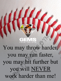 Baseball Physical Education Theme Motivational Bulletin Board Poster!