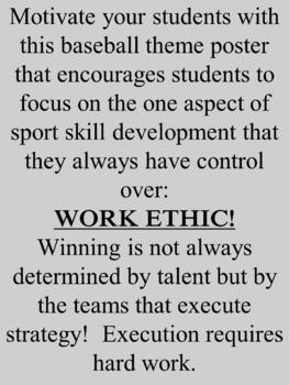Baseball Physical Education Theme Motivational Bulletin Board Poster!