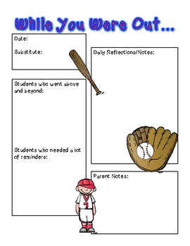 Baseball Theme Sub Binder