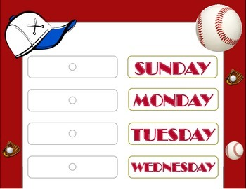 Baseball Theme Weekday Chart! Baseball Days of the Week! Baseball Bulletin Board