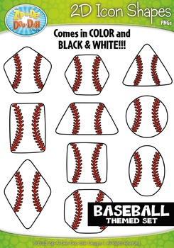 Baseball Themed 2D Icon Shapes Clipart Set — Includes 20 Graphics!