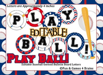 Baseball Themed 4 inch Circular Bulletin Board Letters