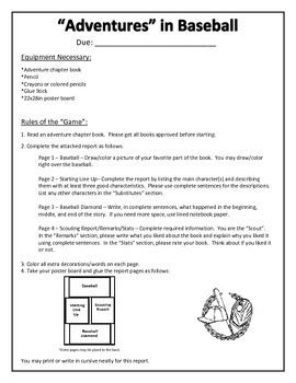 Baseball Themed Adventure Book Report Directions, Template, Rubric