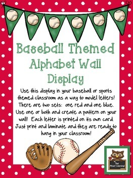 Baseball Themed Alphabet Wall Display