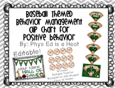 Baseball Themed Behavior Management Clip Chart for Positive Behavior - EDITABLE