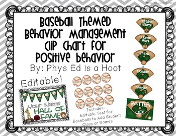 Baseball Themed Behavior Management Clip Chart for Positiv