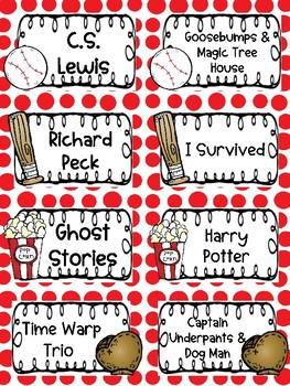 Baseball Themed Book Basket Labels