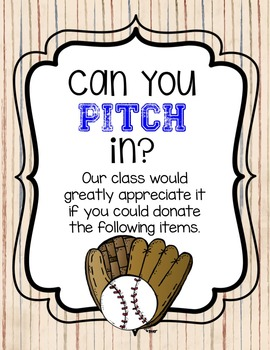 Baseball Themed Can You Pitch In Wish List
