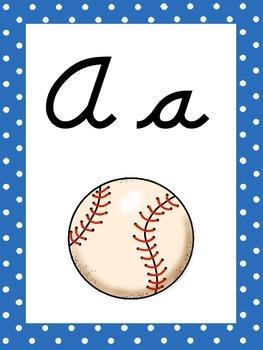 Baseball Themed Cursive Alphabet Wall Display