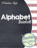 Baseball Themed D'Nealian Alphabet (Full Page)