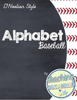 Baseball Themed D'Nealian Alphabet (Full Page)