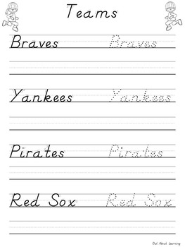 Baseball Themed D'Nealian Handwriting Practice
