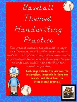 Baseball Themed D'Nealian Handwriting Practice