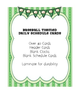 Baseball Themed Daily Schedule Cards