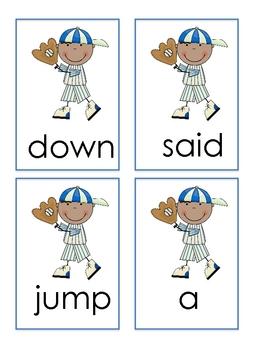 Baseball Themed Dolch Pre-primer Flashcards