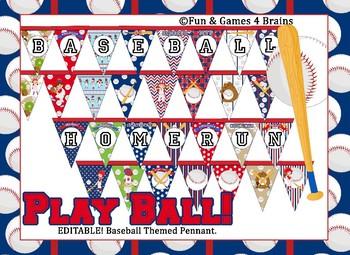 Baseball Themed EDITABLE Bulletin Board Pennants
