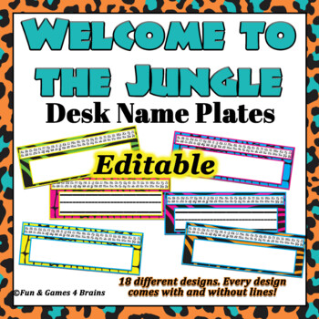 Animal Print / Jungle Themed EDITABLE Desk / Name Plates